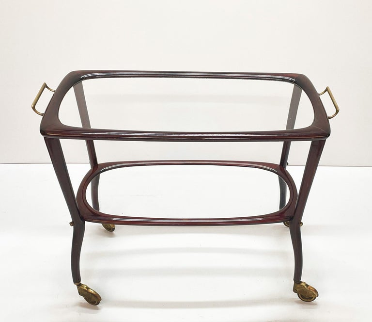 Midcentury Cesare Lacca Wood and Glass Italian Serving Trolley Bar Cart, 1950s 2