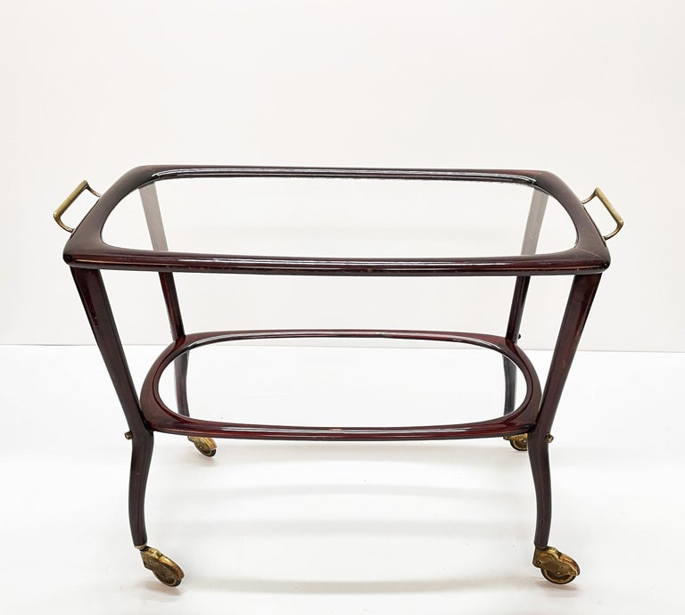 Midcentury Cesare Lacca Wood and Glass Italian Serving Trolley Bar Cart, 1950s 3