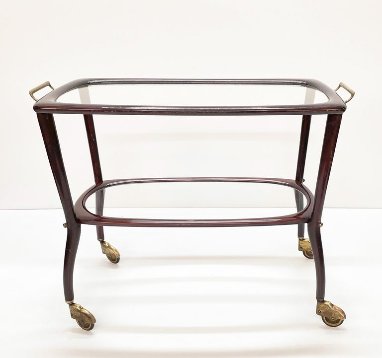 Midcentury Cesare Lacca Wood and Glass Italian Serving Trolley Bar Cart, 1950s 4