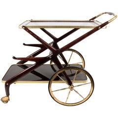 Cesare Lacca Mid-Century Modern Mahogany and Brass Italian Bar Cart, Italy 1950s