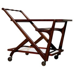 Cesare Lacca Midcentury Walnut and Glass Bar Cart for Cassina, Italy, 1956