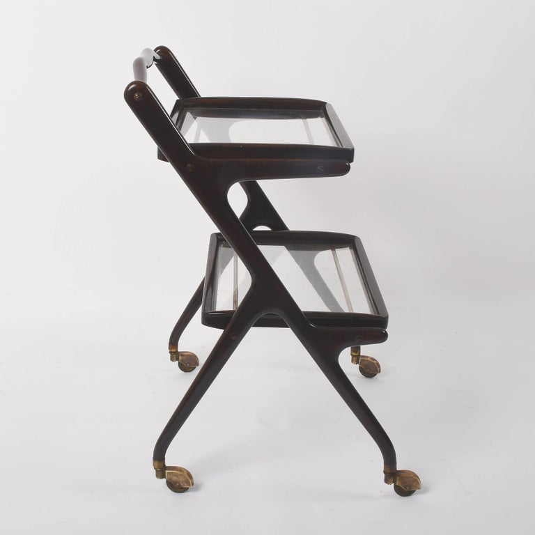 Mid-Century Modern Cesare Lacca Midcentury Wood and Glass Italian Trolley Bar Cart, 1950s For Sale