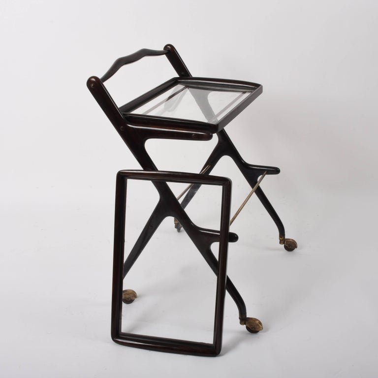 Mid-20th Century Cesare Lacca Midcentury Wood and Glass Italian Trolley Bar Cart, 1950s For Sale