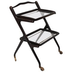 Cesare Lacca Midcentury Wood and Glass Italian Trolley Bar Cart, 1950s