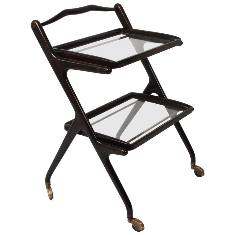 Cesare Lacca Midcentury Wood and Glass Italian Trolley Bar Cart, 1950s For Sale