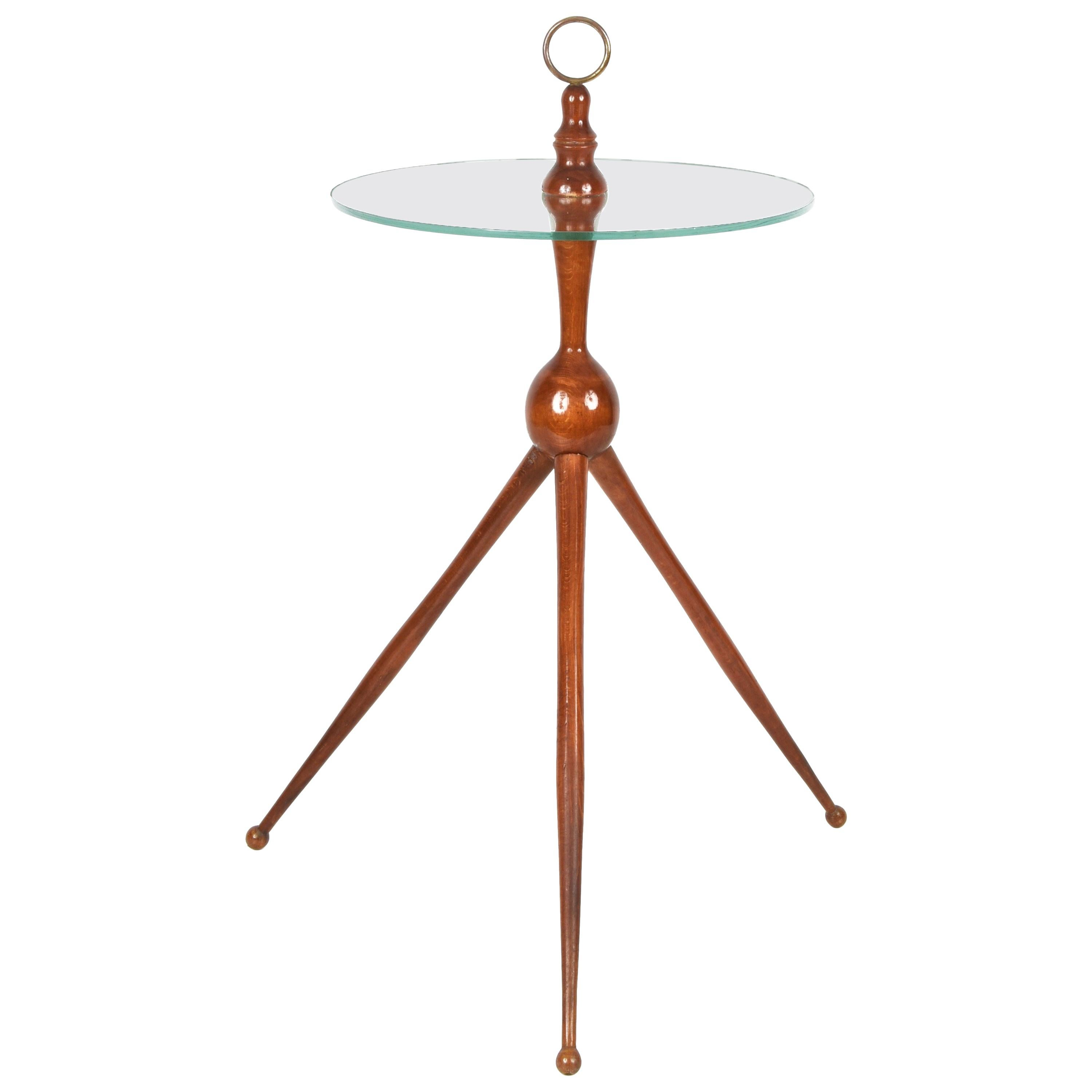 Cesare Lacca Midcentury Wood and Glass Tripod Italian Coffee Table, 1950s