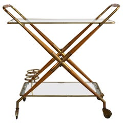 Cesare Lacca Multifunctional Foldable Bar Cart Serving Trolley on Casters
