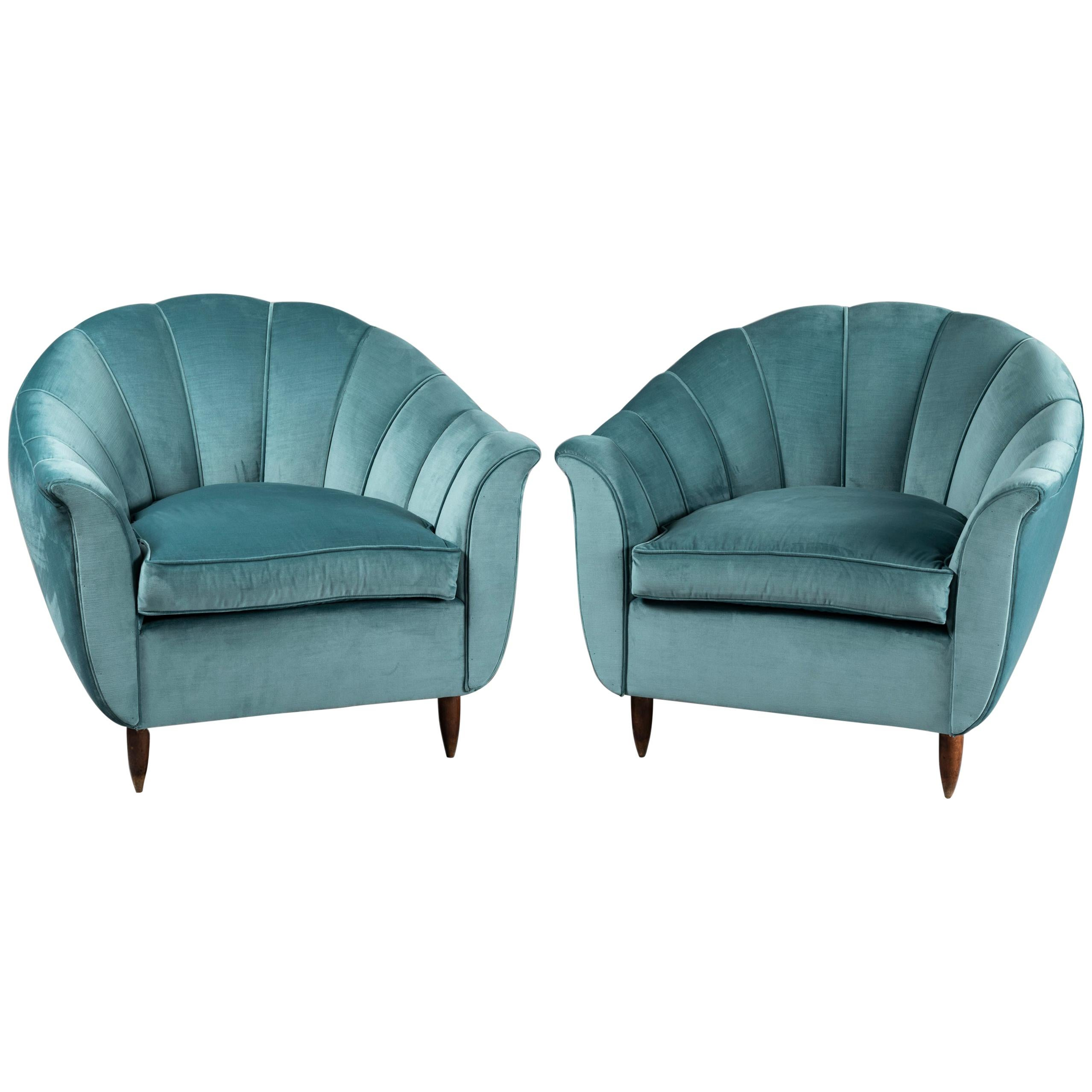 Cesare Lacca Pair of Armchairs Scalloped Shape, 1950s
