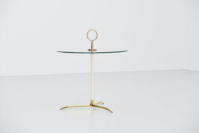Cold-Painted Cesare lacca side table in brass and glass Italy 1950 For Sale