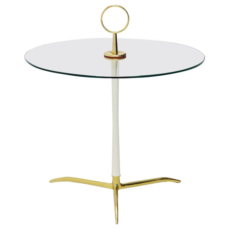 Cesare lacca side table in brass and glass Italy 1950 For Sale