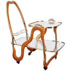 Cesare Lacca Vintage Curved Wooden Serving Bar Cart, Italy, 1950s