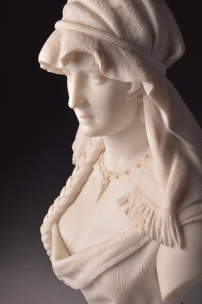 Victorian Cesare Lapini, Marble Female Bust