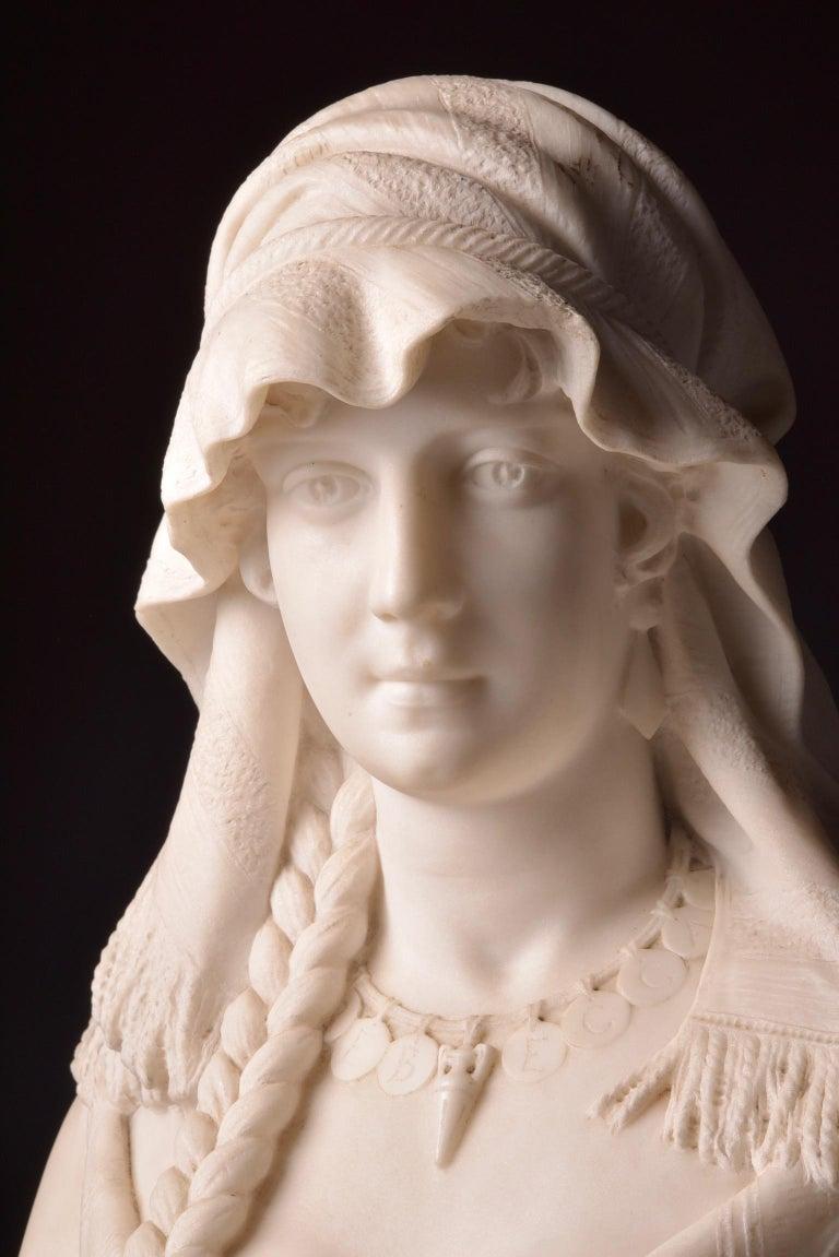 Italian Cesare Lapini, Marble Female Bust