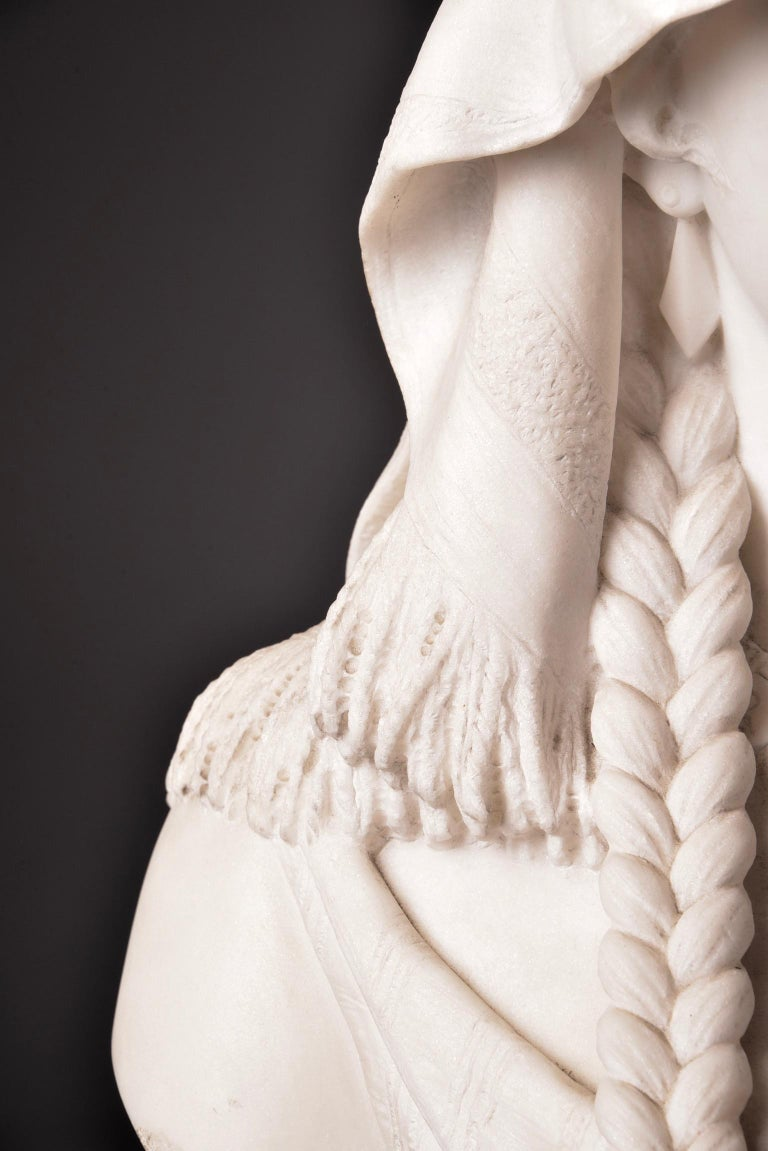 Hand-Carved Cesare Lapini, Marble Female Bust