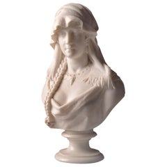 "Cesare Lapini, Marble Female Bust ""REBECCA"", 19th Century"