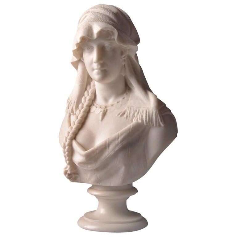 "Cesare Lapini, Marble Female Bust ""REBECCA"", 19th Century For Sale"