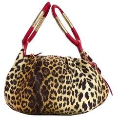 Cesare Paciotti Canvas Leopard Print Bag W/ Red Leather Trim