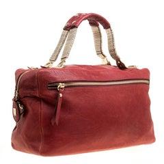 Cesare Paciotti Red Leather Satchel