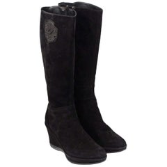 Cesare Paciotti Suede Wedges Boots Size 38
