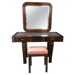 Cesare Scocimarro Art Deco Dressing Table Set Newly Upholstered in Rose Pink