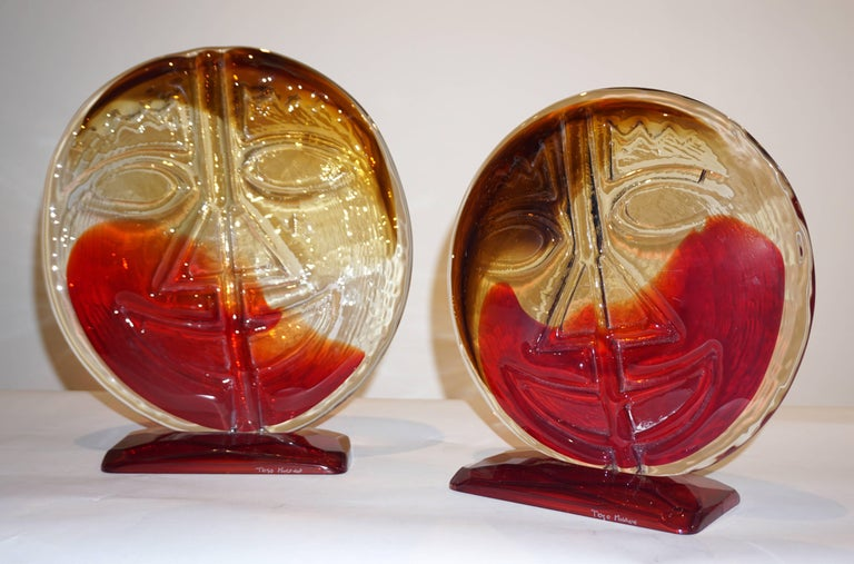 Cesare Toso 1970s Pair of Abstract Red and Amber Murano Art Glass Round Faces For Sale 8