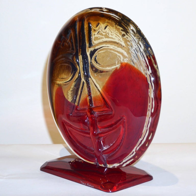 Hand-Crafted Cesare Toso 1970s Pair of Abstract Red and Amber Murano Art Glass Round Faces For Sale