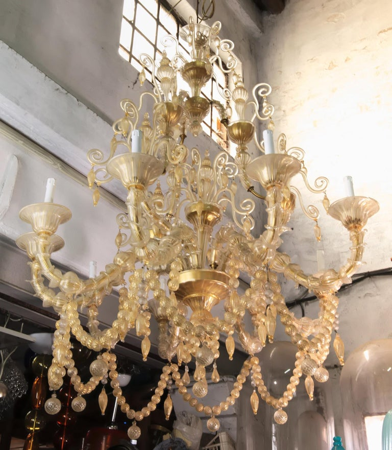 Cesare Toso Pearl Rezzonico Chandelier 9 Arms All in Gold Leaf over Clear, 1980s For Sale 2