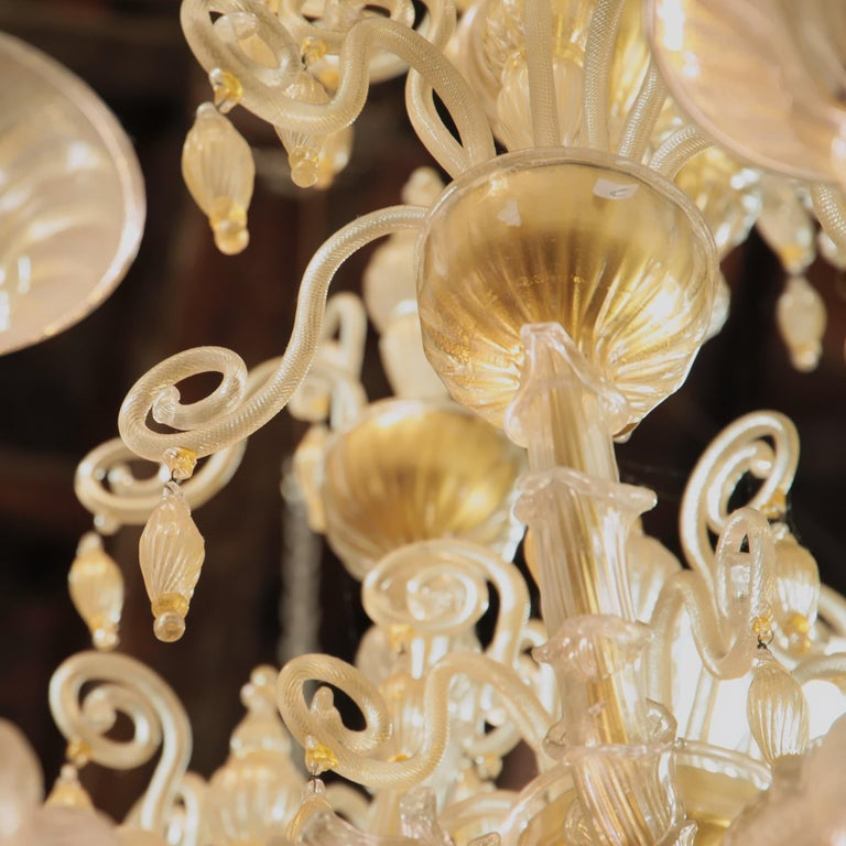 Cesare Toso Pearl Rezzonico Chandelier 9 Arms All in Gold Leaf over Clear, 1980s For Sale 3