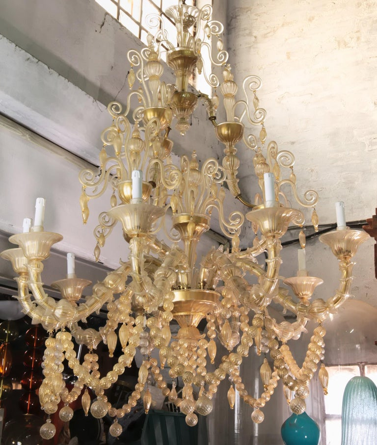 Cesare Toso Pearl Rezzonico Chandelier 9 Arms All in Gold Leaf over Clear, 1980s For Sale 4