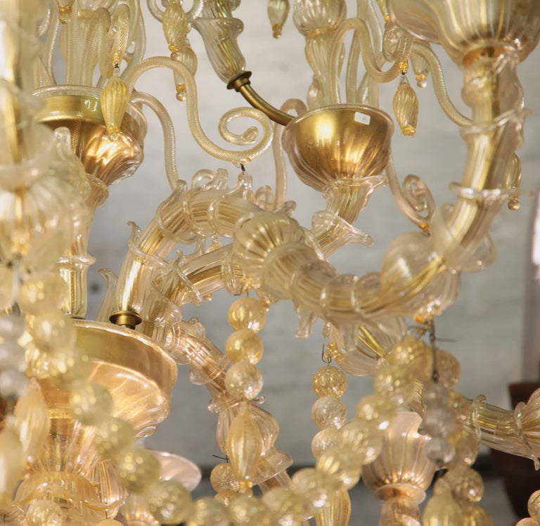 Cesare Toso Pearl Rezzonico Chandelier 9 Arms All in Gold Leaf over Clear, 1980s For Sale 6
