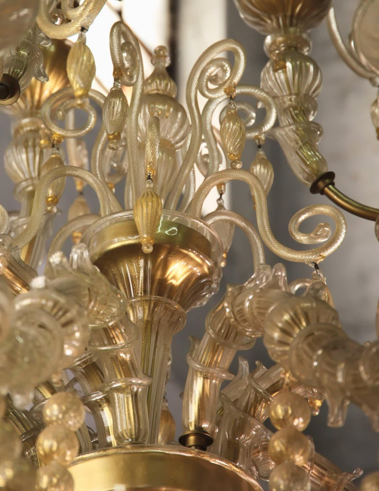 Cesare Toso Pearl Rezzonico Chandelier 9 Arms All in Gold Leaf over Clear, 1980s For Sale 8