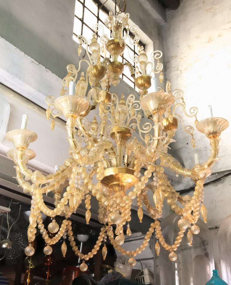 Cesare Toso Pearl Rezzonico Chandelier 9 Arms All in Gold Leaf over Clear, 1980s For Sale 9