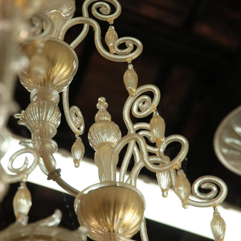 Cesare Toso Pearl Rezzonico Chandelier 9 Arms All in Gold Leaf over Clear, 1980s For Sale 10