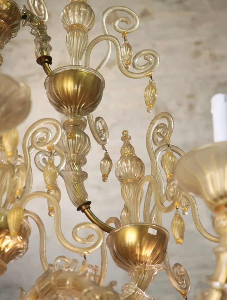 Cesare Toso Pearl Rezzonico Chandelier 9 Arms All in Gold Leaf over Clear, 1980s For Sale 11