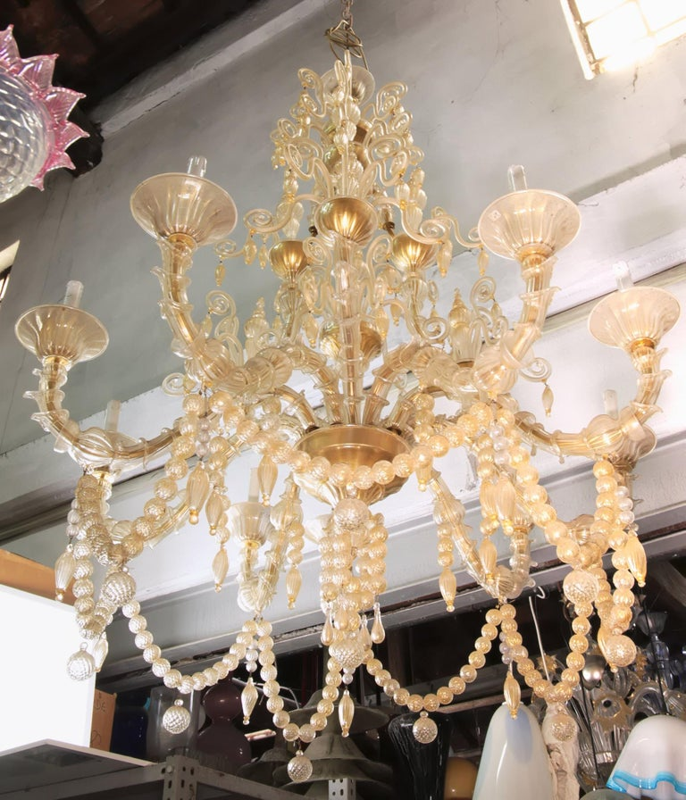 Mid-Century Modern Cesare Toso Pearl Rezzonico Chandelier 9 Arms All in Gold Leaf over Clear, 1980s For Sale