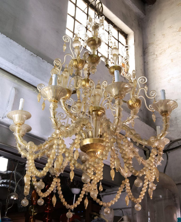 20th Century Cesare Toso Pearl Rezzonico Chandelier 9 Arms All in Gold Leaf over Clear, 1980s For Sale