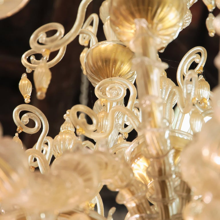 Art Glass Cesare Toso Pearl Rezzonico Chandelier 9 Arms All in Gold Leaf over Clear, 1980s For Sale