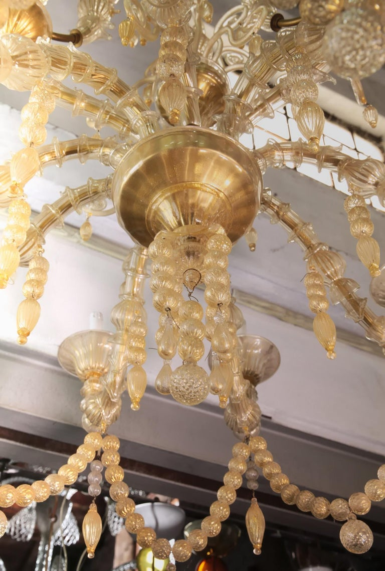 Cesare Toso Pearl Rezzonico Chandelier 9 Arms All in Gold Leaf over Clear, 1980s For Sale 1