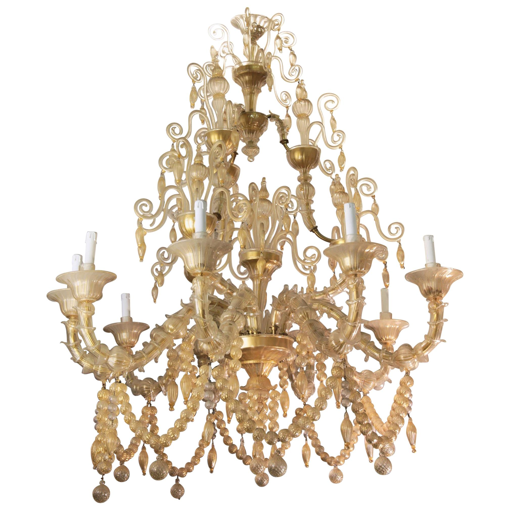 Cesare Toso Pearl Rezzonico Chandelier 9 Arms All in Gold Leaf over Clear, 1980s