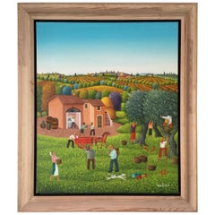 """Cesarean Marchesini """"Olive Harvest in Tuscany"""" 2002 Oil on Canvas Signed"""