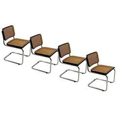 Cesca Chair B32, by Marcel Breuer, Black Color, circa 1980, Italy, Set of Four