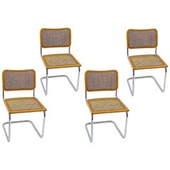 Cesca Chair B32, by Marcel Breuer, Brown Color, circa 1980, Italy, Set of Four