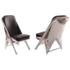 Cessna Leather Airplane Chairs with Riveted Aluminum