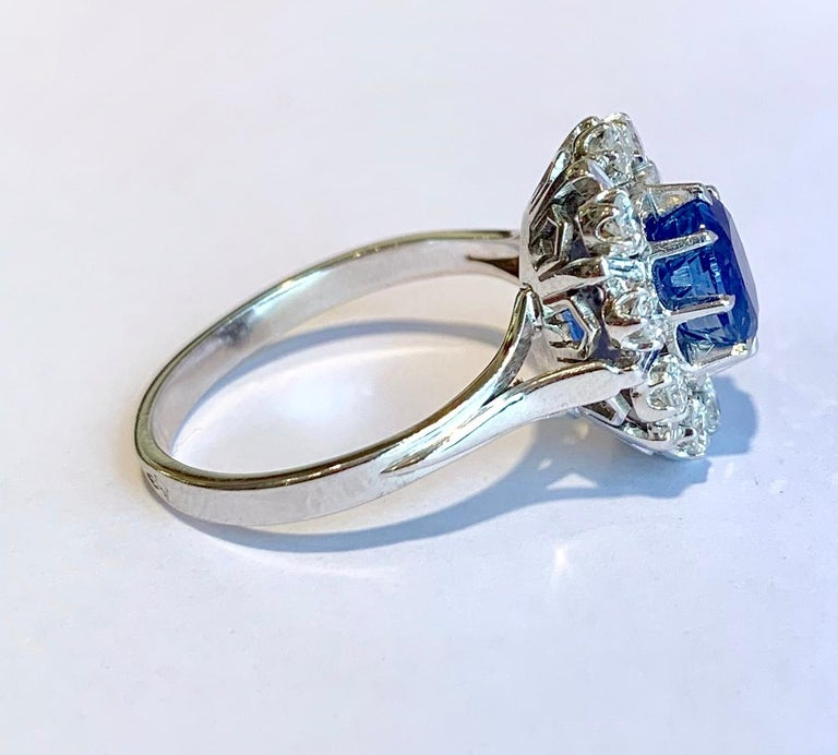 Oval Cut Ceylan Sapphire Diamonds 18 Karat White Gold Pompadour Ring For Sale