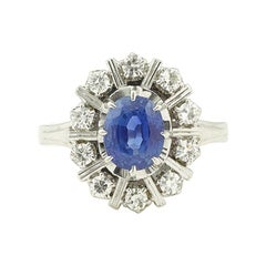 Ceylan Sapphire Diamonds 18 Karat White Gold Pompadour Ring