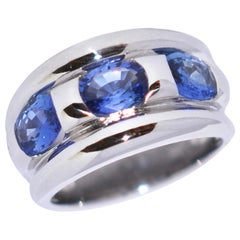 Ceylan Sapphires and White Gold 18 Karat Fashion Ring