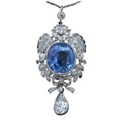 Ceylon 20+ Carat Sapphire and White 1.68 Carat Diamonds Platinum Pendant
