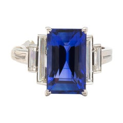 Ceylon 8 Carat Sapphire with 1.4 Carat Diamonds Platinum Ring
