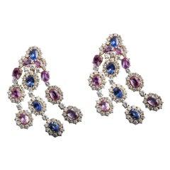 Veschetti Ceylon Blue and Pink Sapphire and Diamond Earrings