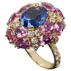 Veschetti Ceylon Blue and Pink Sapphire and Diamond Fashion Ring